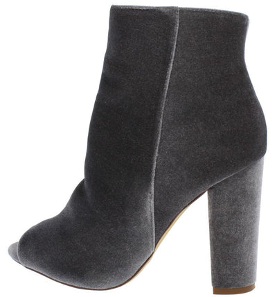 Gina Grey Velvet Peep Toe Slanted Heel Ankle Boot - Wholesale Fashion Shoes