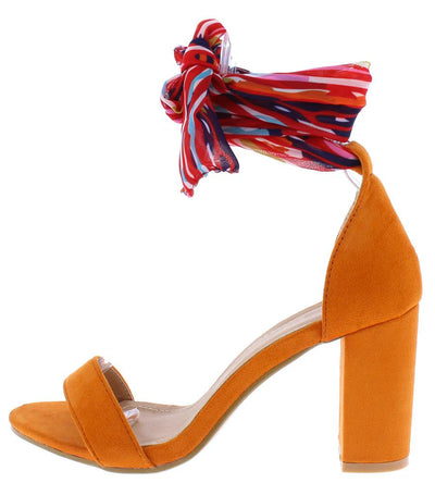 Ava196 Orange Fabric Open Toe Ankle Wrap Block Heel - Wholesale Fashion Shoes