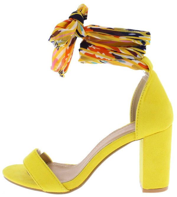 aa6f8b615e5 Ava196 Yellow Fabric Open Toe Ankle Wrap Block Heel