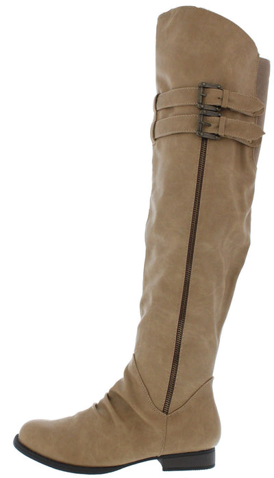Lillian144 Nude Over the Knee Zipper Side Boot - Wholesale Fashion Shoes