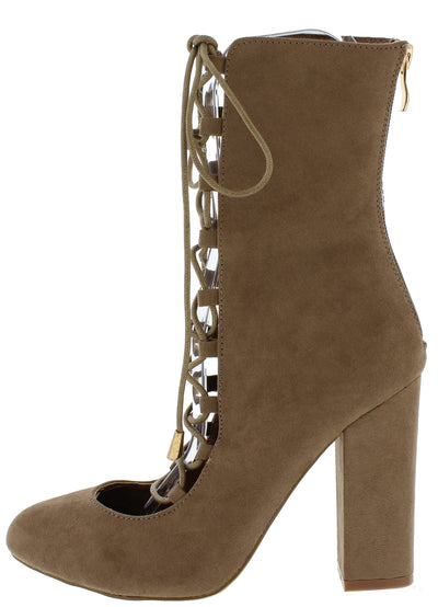 Penelope Taupe Almond Toe Lace Up Mid Calf Block Heel Boot - Wholesale Fashion Shoes