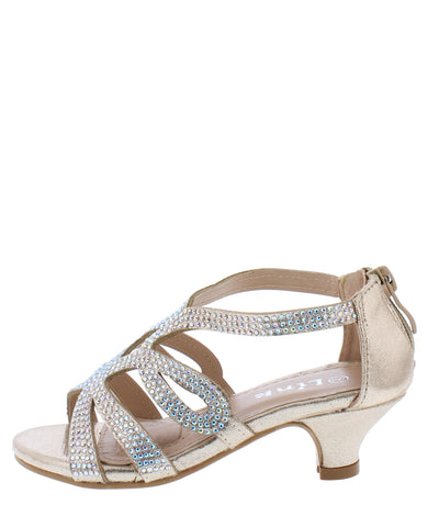 Gipsy3k Champagne Sparkle Cut Out Kids Low Heel - Wholesale Fashion Shoes