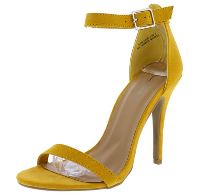 Girltalk11m Mustard Open Toe Ankle Strap Stiletto Heel - Wholesale Fashion Shoes