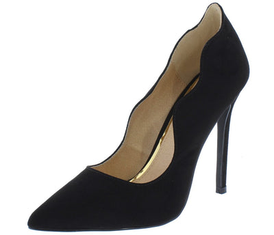Landon152 Black Scalloped Pointed Toe Stiletto Heel - Wholesale Fashion Shoes