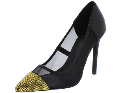 Aria297 Black Sparkle Pointed Toe Mesh Heel - Wholesale Fashion Shoes