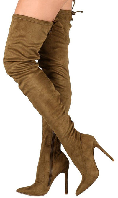 Autumn072 Olive Drawstring Thigh High Stiletto Boot - Wholesale Fashion Shoes
