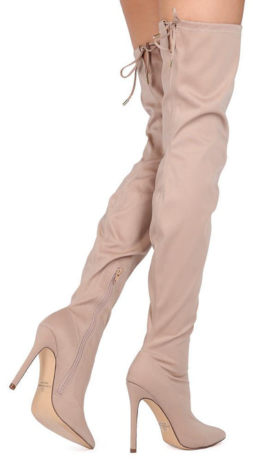 Carson204 Nude Drawstring Thigh High Stiletto Boot - Wholesale Fashion Shoes