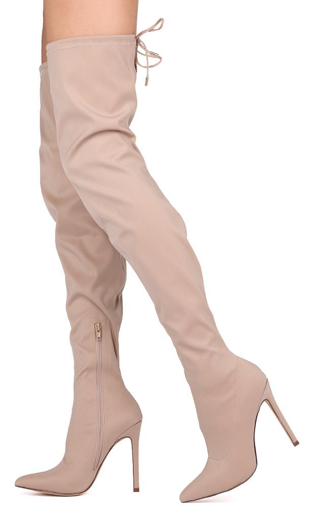 aef8c2fa85260c Carson204 Nude Drawstring Thigh High Stiletto Boot - Wholesale Fashion Shoes
