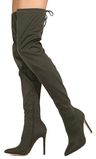 Carson204 Olive Drawstring Thigh High Stiletto Boot - Wholesale Fashion Shoes