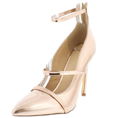 EVERLY ROSE GOLD METALLIC POINTED TOE PUMP HEEL - Wholesale Fashion Shoes