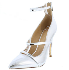 EVERLY SILVER METALLIC POINTED TOE PUMP HEEL - Wholesale Fashion Shoes