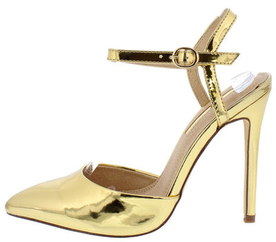 Ava267 Gold Pointed Toe Slingback Ankle Strap Stiletto Heel - Wholesale Fashion Shoes
