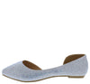 Giselle30 Silver Sparkle Pointed Toe Half Dorsay Flat - Wholesale Fashion Shoes