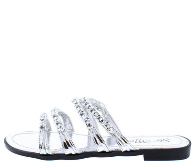 Giselle Silver Open Toe Strappy Chain Slide on Sandal - Wholesale Fashion Shoes