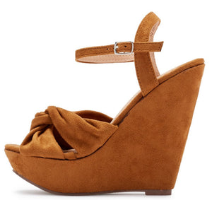 2496f9a2465 Kinsley115 Camel Suede Knotted Open Toe Platform Wedge - Wholesale Fashion  Shoes