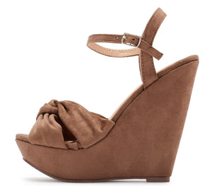 5586d8c442 Kinsley115 Taupe Suede Knotted Open Toe Platform Wedge - Wholesale Fashion  Shoes