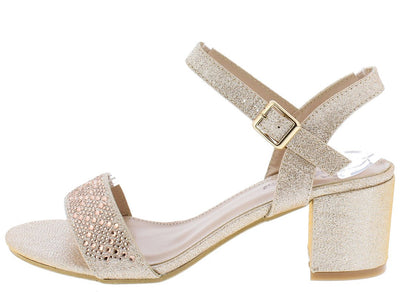 Glad23 Champagne Shimmer Slingback Ankle Strap Chunky Heel - Wholesale Fashion Shoes
