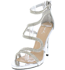 GLADLY29 SILVER METALLIC RHINESTONE ZIGZAG STRAPPY HEEL - Wholesale Fashion Shoes