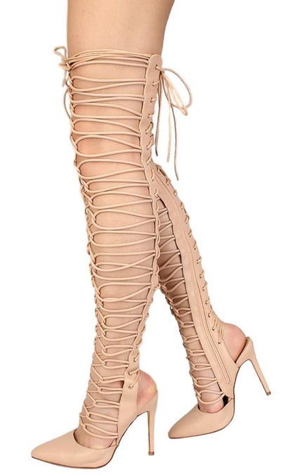Janet28 Nude Thigh High Lace Up Strappy Stiletto Boot - Wholesale Fashion Shoes