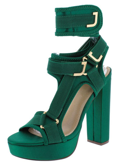 Nelly226 Green Cut Out Adjustable Multi Strap Platform Heel - Wholesale Fashion Shoes