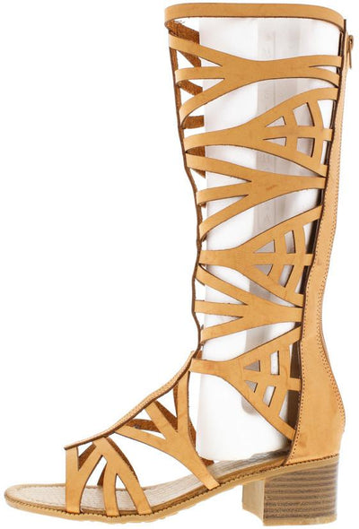 Glarey Cognac Gladiator Stacked Block Heel Boot - Wholesale Fashion Shoes