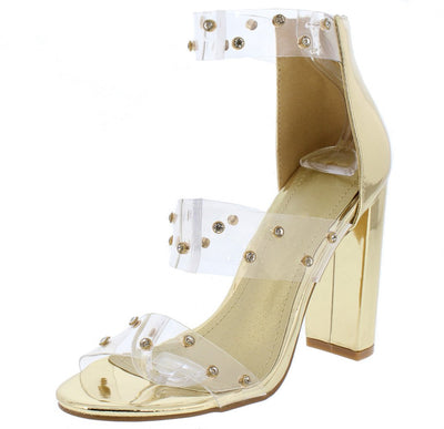Everly206 Gold Clear Embellished Three Strap Chunky Heel - Wholesale Fashion Shoes