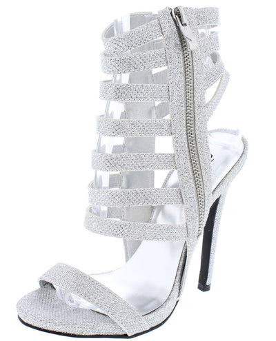 Glee104 Silver Metallic Textured Open Toe Caged Heel - Wholesale Fashion Shoes