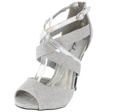 GLEE143 SILVER GLITTER PEEP TOE STRAPPY HEEL - Wholesale Fashion Shoes