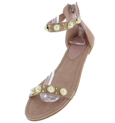 Addison050 Mauve Pearl Stud Open Toe Ankle Strap Sandal - Wholesale Fashion Shoes