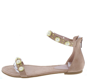 7850ffbd9 Addison050 Mauve Pearl Stud Open Toe Ankle Strap Sandal - Wholesale Fashion  Shoes