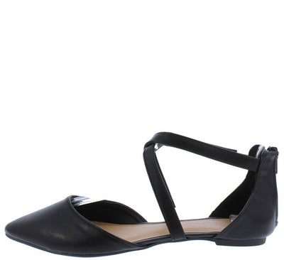 Glenn09 Black Pu Cross Strap Pointed Toe Dorsay Flat - Wholesale Fashion Shoes
