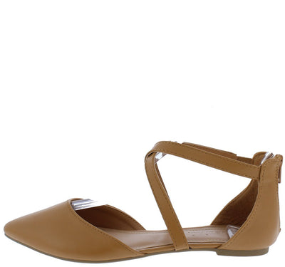 Glenn09 Cognac Pu Cross Strap Pointed Toe Dorsay Flat - Wholesale Fashion Shoes