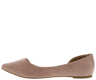 Glenn11 Nude Suede Pu Pointed Toe Half Dorsay Ballet Flat - Wholesale Fashion Shoes