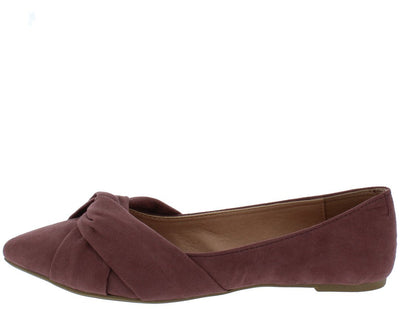Sohpia125 Mauve Top Twist Pointed Toe Ballet Flat - Wholesale Fashion Shoes