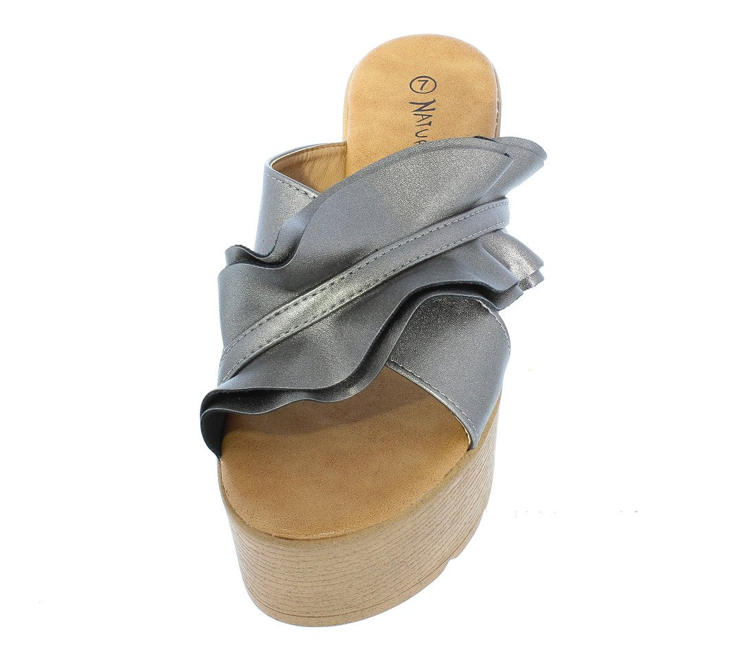 f74b98fa6ee8 Global pewter ruffle cross strap open toe mule wedge wholesale fashion  shoes jpg 1080x961 Pewter wedges