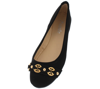 Gloria12 Black Gold Emblem Ballet Flat - Wholesale Fashion Shoes