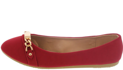 Gloria52 Red Chain Toe Ballet Flat - Wholesale Fashion Shoes