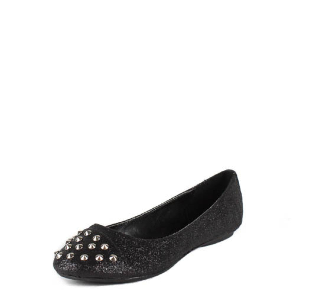 0fc3c2166ea9 Gloria Black Glitter Studded Toe Flat Shoes Only  10.88 - Wholesale Fashion  Shoes