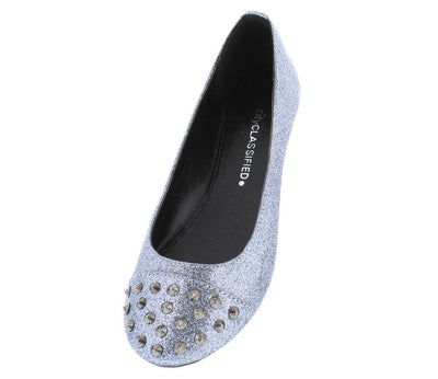 Gloria Pewter Glitter Studded Toe Ballet Flat Shoes - Wholesale Fashion Shoes