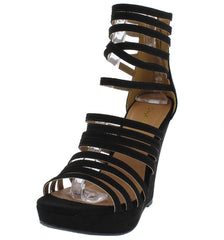 GLORY154 BLACK SUEDE WOMEN'S WEDGE - Wholesale Fashion Shoes