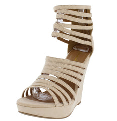 GLORY154 NUDE SUEDE WOMEN'S WEDGE - Wholesale Fashion Shoes