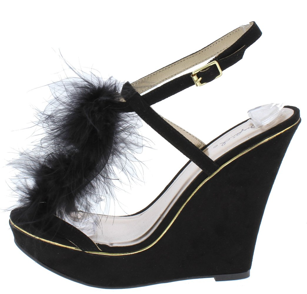 5090a69e3fa3 Glory175 Black Open Toe Feather T Strap Slingback Wedge - Wholesale Fashion  Shoes