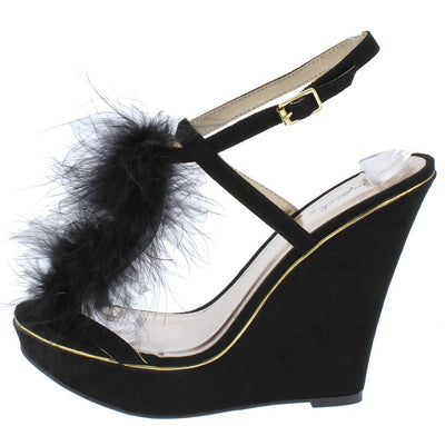 Glory175 Black Open Toe Feather T Strap Slingback Wedge - Wholesale Fashion Shoes