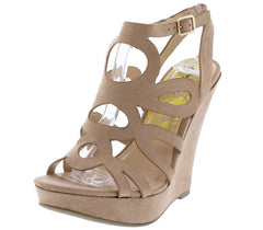 Glory189 Warm Taupe Suede Cut Out Open Toe Wedge Heel - Wholesale Fashion Shoes