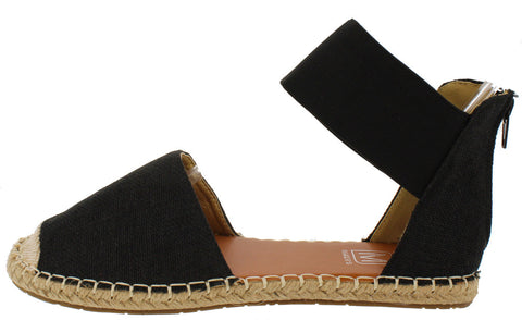 GLORY6 BLACK ESPADRILLE ANKLE STRAP FLAT - Wholesale Fashion Shoes - 1
