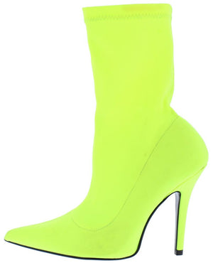 e446ec0a9010 Glow Yellow Stretch Pointed Toe Stiletto Boot - Wholesale Fashion Shoes