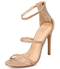 BAILEY133 NUDE OPEN TOE STRAPPY STILETTO HEEL - Wholesale Fashion Shoes