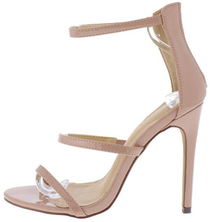 12a855fefc0 Bailey133 Nude Patent Open Toe Strappy Stiletto Heel - Wholesale Fashion  Shoes