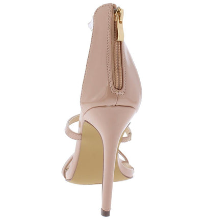 Bailey133 Nude Patent Open Toe Strappy Stiletto Heel - Wholesale Fashion Shoes