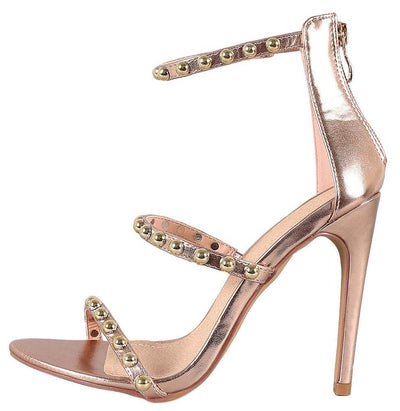 Riley226 Rose Gold Open Toe Studded Three Strap Heel - Wholesale Fashion Shoes